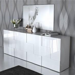 Credenza moderna Quadra 4 ante bianco laccato lucido