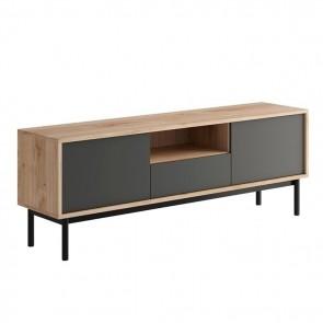 Porta tv Avola Gihome ® 2 ante 1 cassetto 1 vano a giorno legno grafite